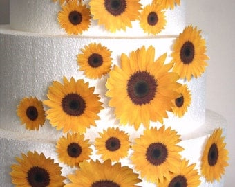 Edible Flower Cake Decorations, Yellow Edible Sunflowers, Set of 24 DIY Cake Decor, Yellow Edible Cake Decorations, DIY Wedding Cake