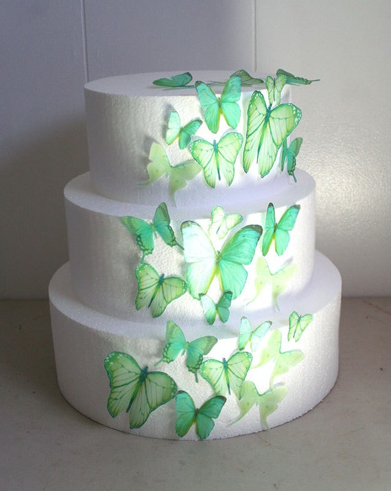 papillon comestible cake decorations lumière vertes papillons