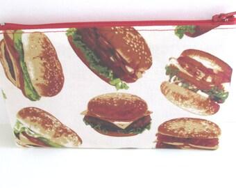 Hamburger cotton pouch // Hamburger Party // BBQ Hamburger Pencil Case