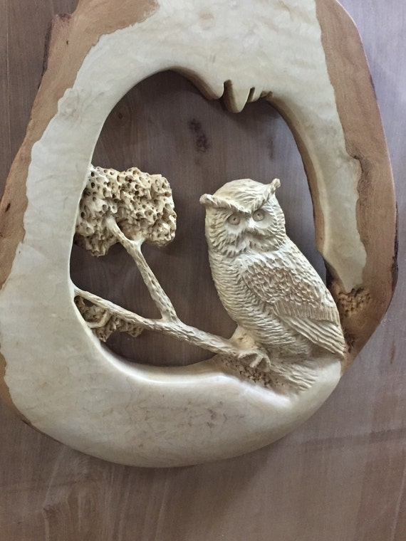 Owl wood carving beach house decor wall art country