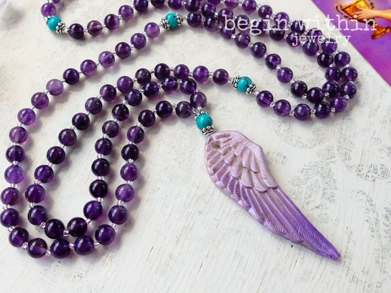 Archangel Jeremiel Mala Beads / Amethyst Prayer Beads / Angel Wing Mala Necklace / Angel Jewelry