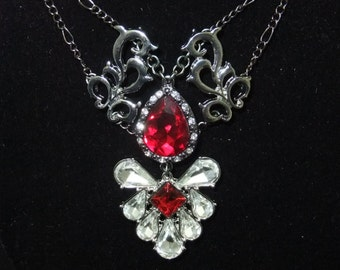 Ornate Silver & Red Jeweled Necklace