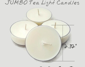 Jumbo Tea Light Candles 4 - Pack, Vegan 100% All Natural Soy,  12+ Hour Burn Time, Scented or Unscented. 80+ Fragrances Cruelty-Free