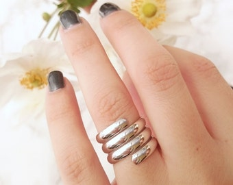 Silver Swirl Ring - Statement Ring - Stacking Ring - Layer Ring - R04-S