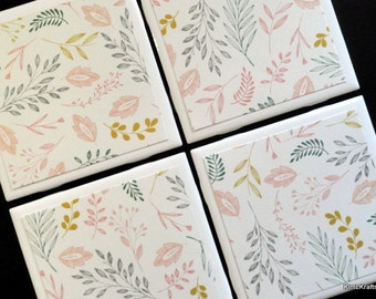 Floral Coasters, Tile Coasters, Coasters, Tile Coaster, Coaster, Drink Coasters, Ceramic Coasters, Table Coasters, Coaster Set of 4