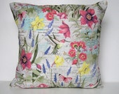 Spring Pillow Cover, Floral Pillow Cover, Throw Pillow, Flowers, Daffodils, Lavender, Hummingbirds, Garden, Botanical, Envelope Closure