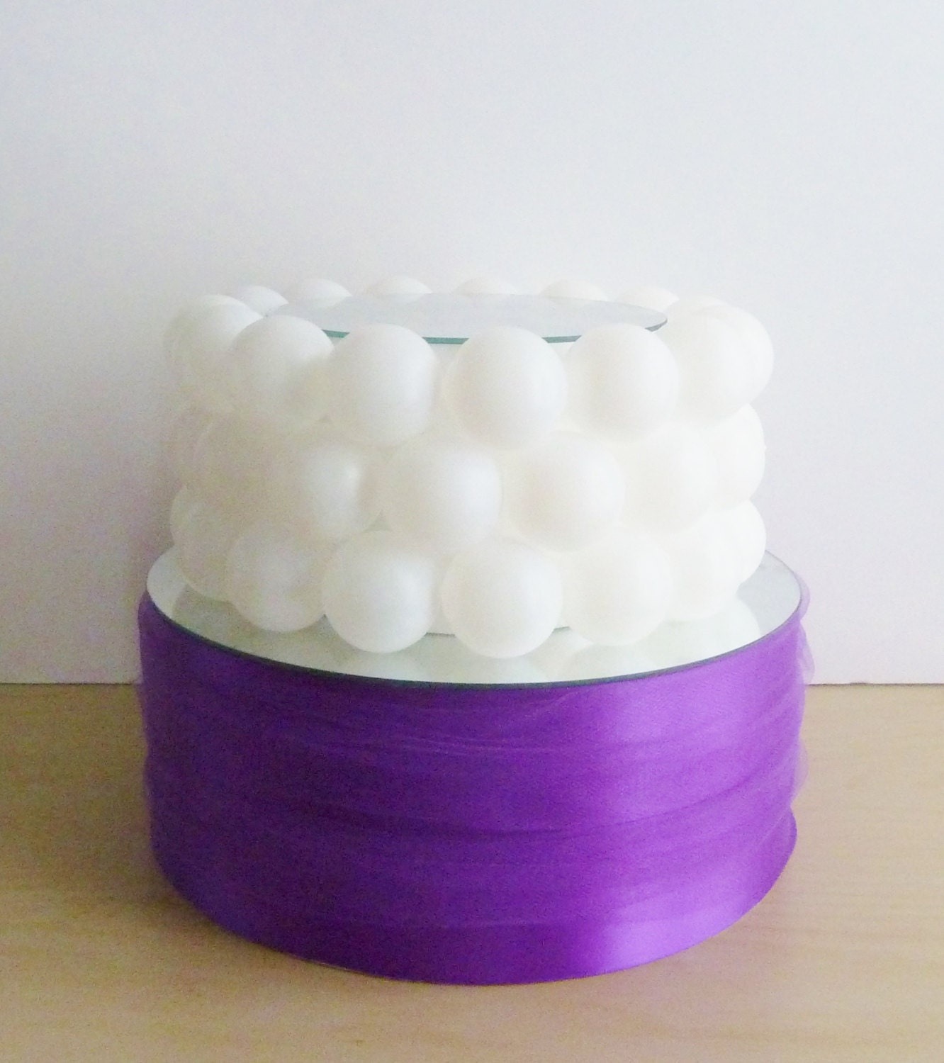Purple Satin Cake Stand With Tulle Sash By