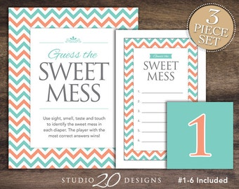 Instant Download Teal Chevron Candy Bar Baby Shower Game, Teal Coral Chevron Dirty Diaper Game, Baby Shower Guess the Sweet Mess Game 60B