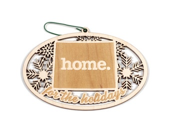 Engraved Colorado Wood Christmas Ornament