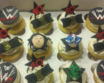 Wrestling Cupcake toppers