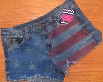 American Flag Cut Off Jean Shorts - LIMTED TIME ONLY