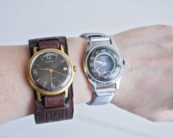 Vintage Soviet Wrist Watch, Vostok and Raketa, USSR Metal Clock, Not Working, For Parts or Repair
