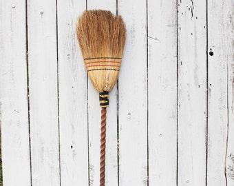 Vintage Handmade Hearth Broom with Barley Twist Handle, Witch's Broom, Primitive Rustic Decor, Whisk Broom