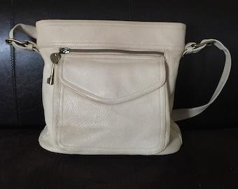 Fossil Creme Top Zip Pebble Leather Handbag (Shoulder Bag)