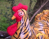 Tiger chicken doll doorstop - made to order - life-size chicken, realistic comb & wattle, quilted wings and tail