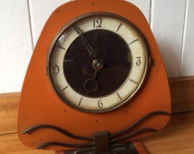 10% OFF - Art Deco Mantle Clock Orange Metal Wind Up Vintage Clock