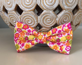 Dog Bow / Bow Tie - Floral Pink Yellow Orange
