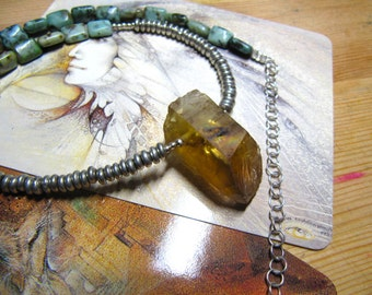 Neolithic Priestess: natural smokey African citrine, jasper / African turquoise beads, and hand cast silver plate beads
