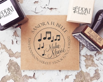 Custom Address Stamp, Music Lover Gift, Music Return Address Stamp, Custom Self-Inking Address, Music Rubber Stamp CS-10298