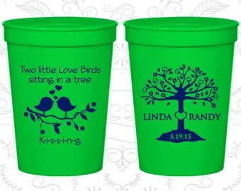 Two little love birds sitting in a tree Kissing, Wedding Favor Party Cups, Love Tree, Love Birds Wedding Cups, Plastic Cups (249)