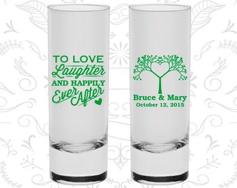 Love Laughter Happily Ever After, Cheap Shooters, Love Tree, Fairy Tale Wedding Shooters, Tall Shot Glasses (551)