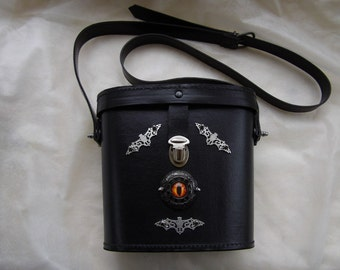 Gothic eye bag, bat bag, revamped vintage hand bag, binocular case, steampunk bag