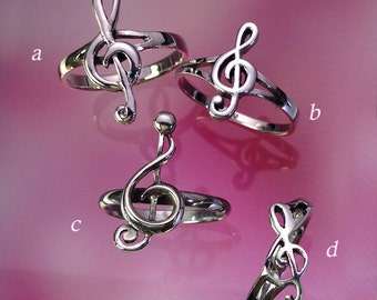 925 Solid Sterling Silver MUSIC NOTE Ring/Treble Clef Earrings/Music Lover Jewelry/High Polish/Oxidized