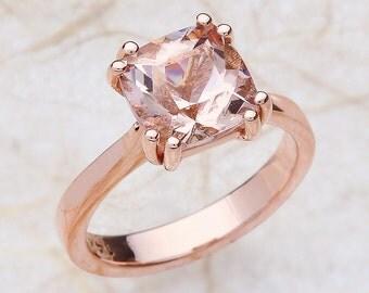 Rose Gold Morganite Engagement Ring, Morganite Engagement Ring, Morganite Solitaire Engagement Ring