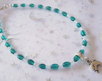 HALF PRICE Dolphin ankle bracelet, dolphin anklet, teal and pearl dolphin ankle bracelet, teal and peal dolphin anklet