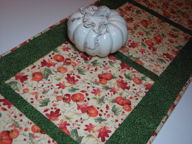 Thanksgiving Quilted Table Runner Patterns : Quilted Table Runner Autumn Thanksgiving Table by VillageQuilts