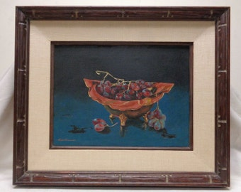 """VINTAGE SGD Oil Painting """"Grapes in Bowl"""" Still Life w. Vintage Style Wood Frame"""