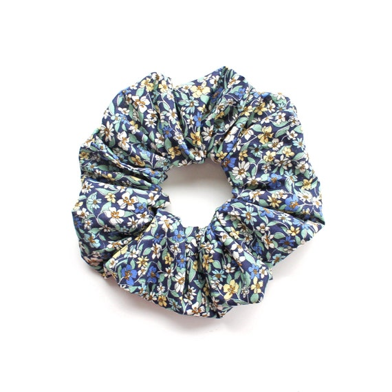 FORGOT ME NOT  .Blue floral Scrunchy or Scrunchie. Women Hair Accessories. Retro Accessory.