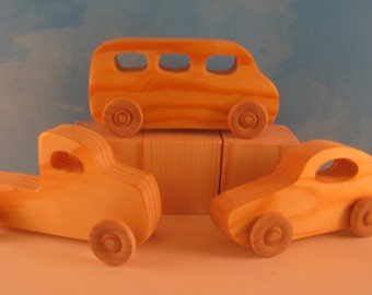 Set of 3 Wood Toy Vehicles