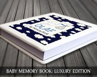 Baby keepsake book, Baby boy memory book, Blue clouds baby book, Baby first year book, Baby record book, Baby boy journal, Baby boy diary