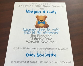 DIGITAL Teddy Bear Blue Baby Shower Invite