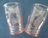 Set Optic Pink Barware Glasses Vintage Depression Glass Glassware Drinkware Collectible French Country Shabby Chic