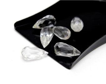 Faceted Teardrop Rock Crystals 6x12mm 6pcs