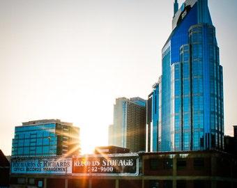 "Nashville Art, Nashville Skyline, Downtown Nashville, Nashville Photography, Country Music, Architectural, Nashville Wall Decor ""Music City"""