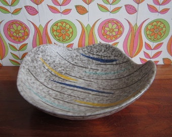 Vintage Scheurich Foreign West German Pottery Bowl Dish Grey Brown Yellow Blue Green 314-27 Mid Century Modern W-Germany 1950's