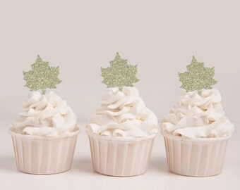 Gold Leaf Cupcake Topper Set, Gold Cupcake Toppers, Fall Cupcake Topper, Halloween Cupcake Topper