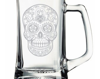 Sugar Skull Flame Etched Mug Personalized  Day of the Dead
