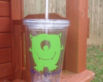 Monster Tumbler, Cute Monster Cup, Kids Tumbler, Personalized Monster Tumbler, Tumbler with Lid and Straw