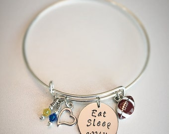 WVU Mountaineers Eat Sleep WVU Football Team Bangle Blue and Gold