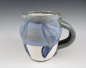 Sky Blue & White Stoneware Mug / Ceramic Painted Mug