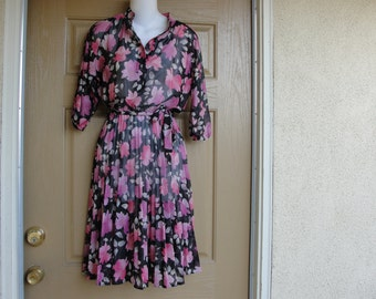 Vintage 1970s or 1980s floral print sheer dress medium 70s 80s