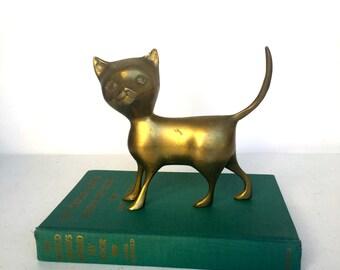 VIntage Solid Brass Cat