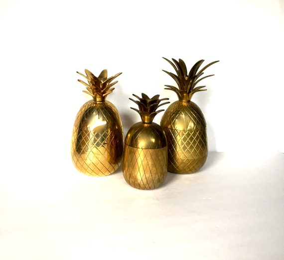 Vintage Brass 7 Pineapple Container Pineapple Candle