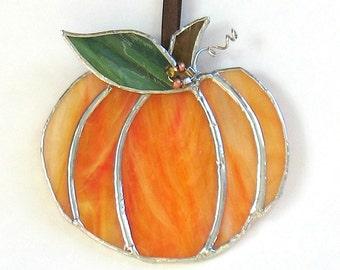 Small pumpkin suncatcher,  stained glass halloween decoration ornament, orange glass home decor,  glass art fall decor, autumn ornament