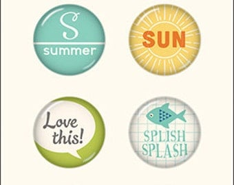 October Afternoon Summertime  Collection Tin Pins, Self Adhesive Metal Pins, Paper Crafting, Scrapbook Embellishment, Summer Theme Scrapbook