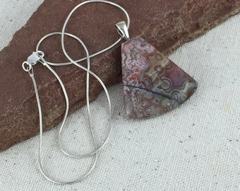 Mauve, Pink and Gray Crazy Lace Agate Stone Pendant
